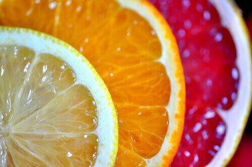 Citrusfrukter i rad