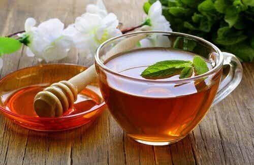 En renande infusion på honung, vinäger och te