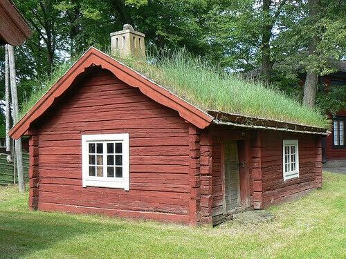 Hus med gräs på taket