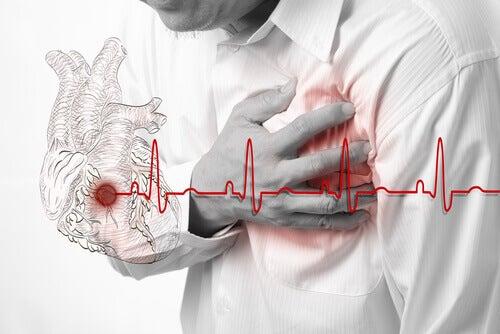 Kärlkramp kan kännas som ett starkt tryck på bröstet
