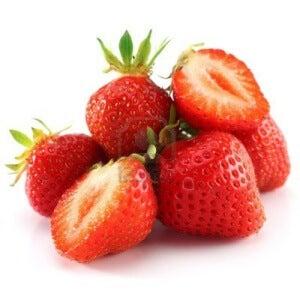 Hög med jordgubbar