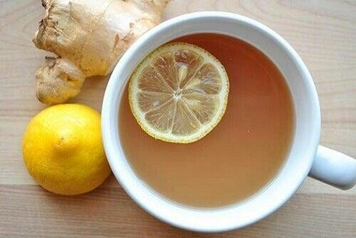 ingefära och citron vatten