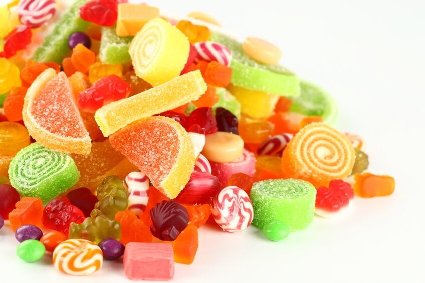 Godis innehåller stora mängder socker