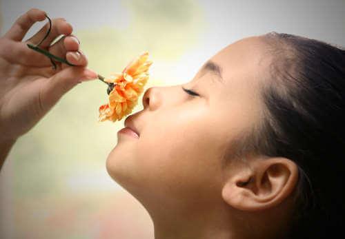 Flicka luktar på blomma