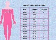 Tabell för daglig vattenkonsumtion