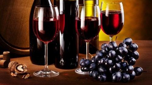 Rött vin och druvor