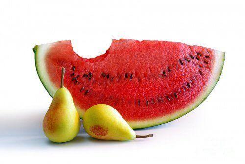 Vattenmelon och päron