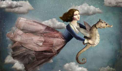 Idag flyger jag över de grå molnen för att ha en bra dag
