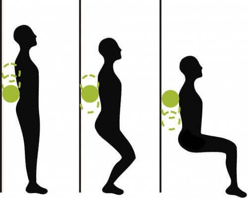 Träna knäböj med en boll