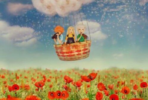 tre vänner i varmluftsballong