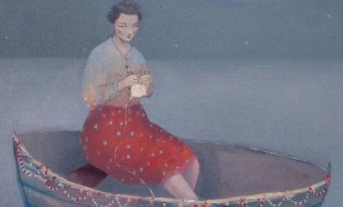 Kvinna-i-båt