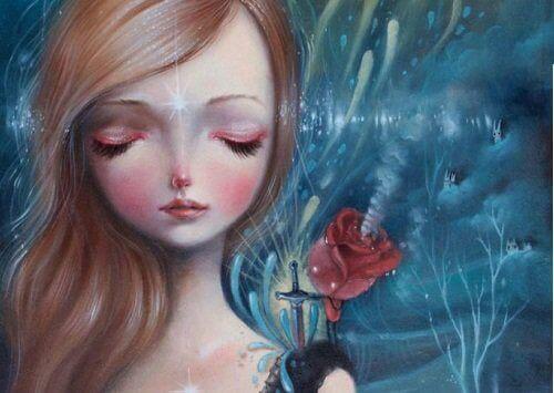 Flicka-med-blomma
