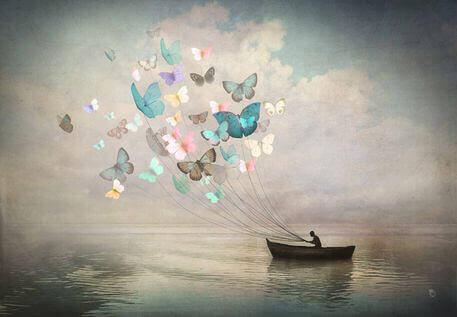 Fjärilar som segel för båt