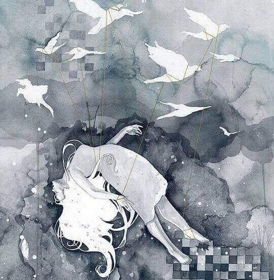 Flicka-buren-av-fåglar