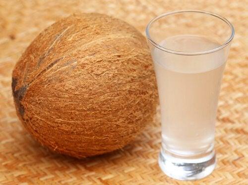 Kokosnöt bredvid glas