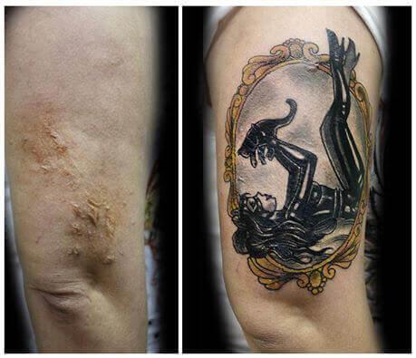 tatuering på ben