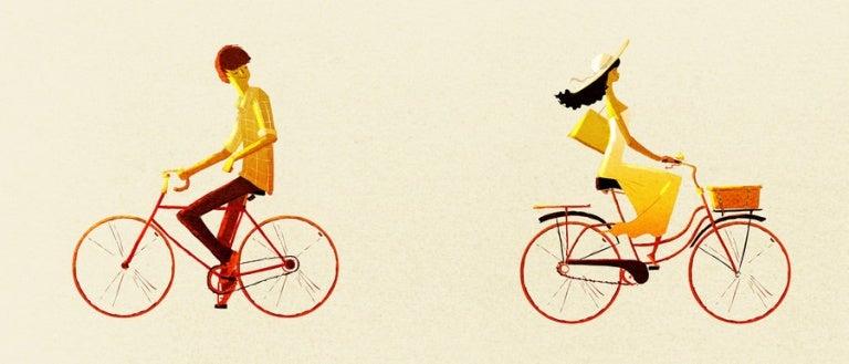 personer som cyklar bort från varandra