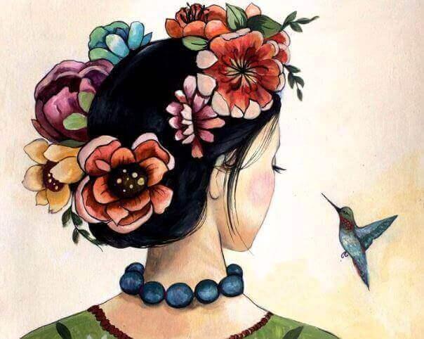 Flicka med fågel