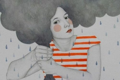 Kvinna i regn