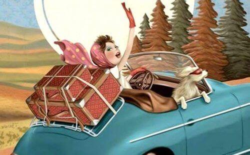 Kvinna på roadtrip