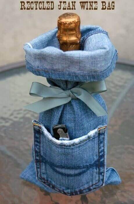 flaskfodral av jeans