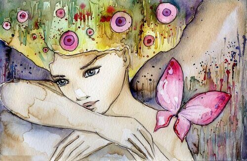 Kvinna-i-vattenfärg