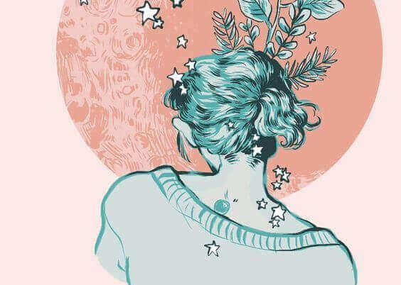 kvinna med stjärnor