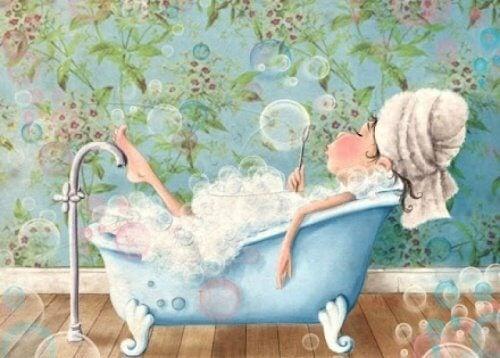 person i bubbelbad