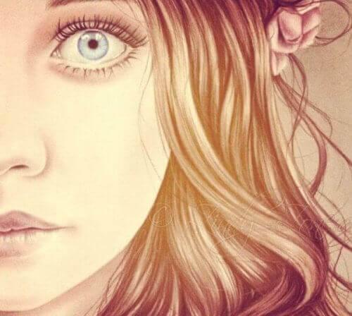 kvinna med öppet öga