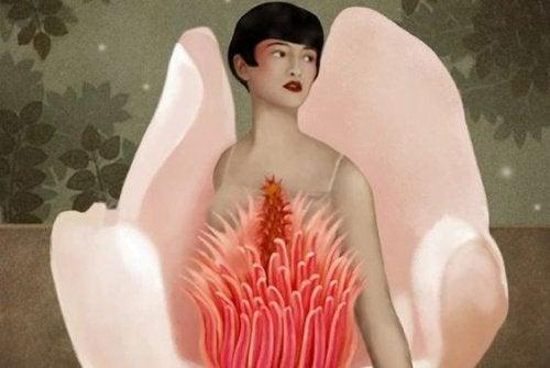 Kvinna inuti blomma
