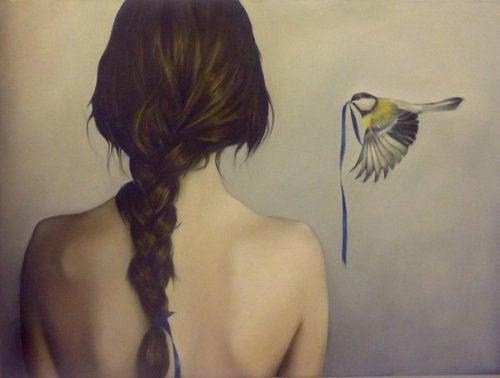 fågel med band