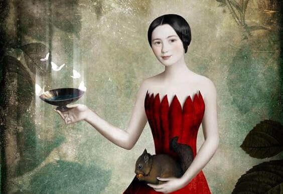 kvinna med ekorre