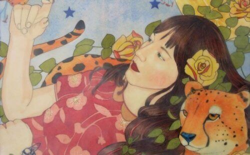 kvinna med leopard