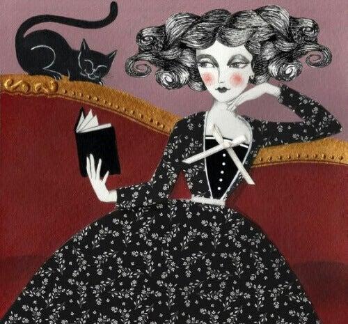 kvinna-och-svart-katt