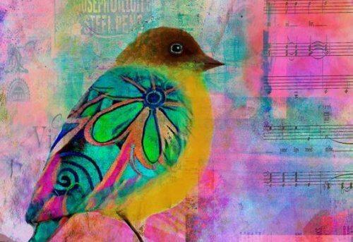 färgglad fågel och notblad