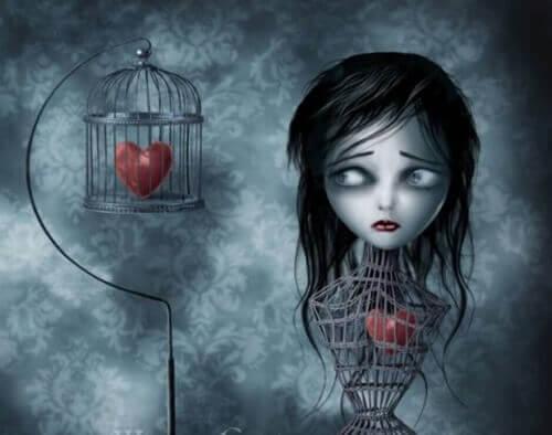 Kvinna med hjärta i bur