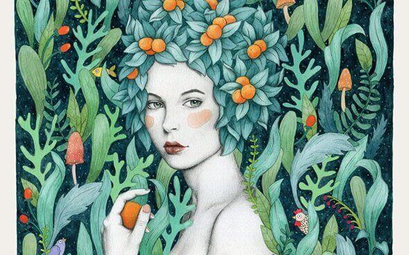 kvinna med blad som hår