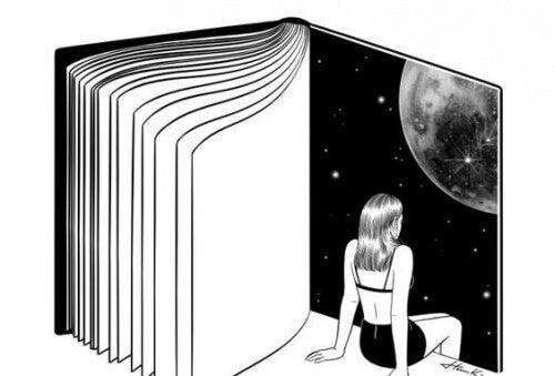 Flicka läser en bok
