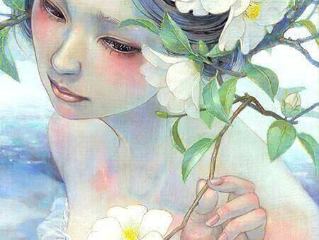 flicka-med-blommor