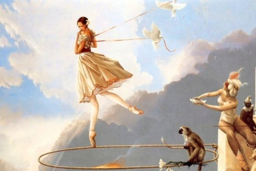 Balanserande kvinna
