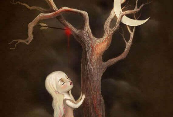 Månen fast i träd