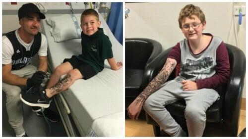 """En man ger """"temporära tatueringar"""" till sjuka barn"""