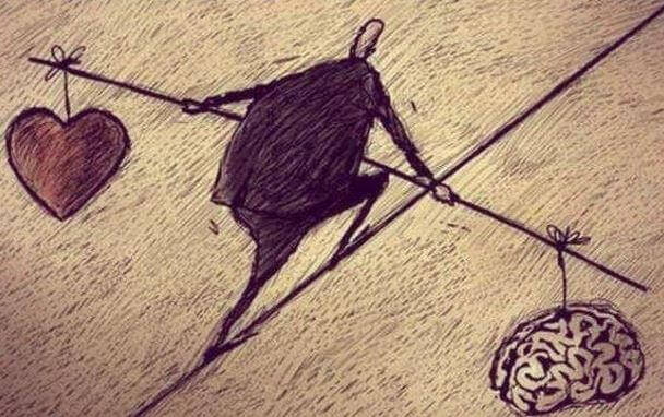 balansgång mellan hjärta och hjärna