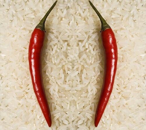 mexikansk peppar på ris