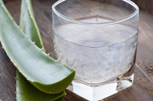 glas med aloe vera-juice