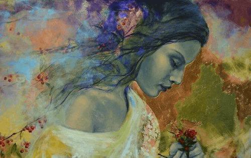 Kvinna med blomma