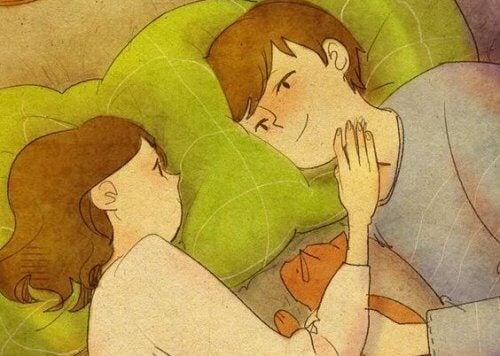 Ungt par i sängen