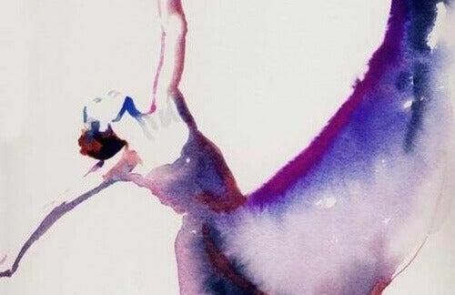 dansande kvinna i vattenfärg