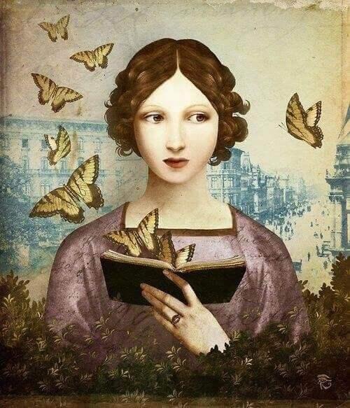kvinna läser en bok med fjärilar