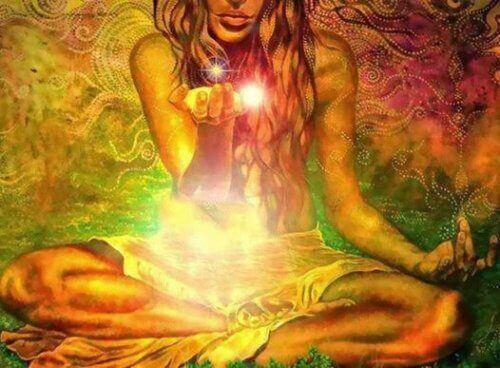 färgglad mediterande person med chi i handen